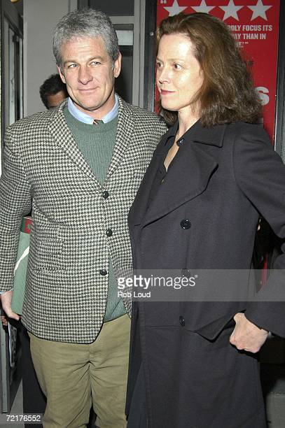Sigourney Weaver and husband director Jim Simpson pose at the OffBroadway opening night performance of My Name Is Rachel Corrie at the Minetta Lane...