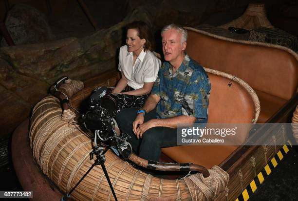 Sigourney Weaver and James Cameron attends the Pandora The World Of Avatar Dedication at the Disney Animal Kingdom on May 24 2017 in Orlando Florida