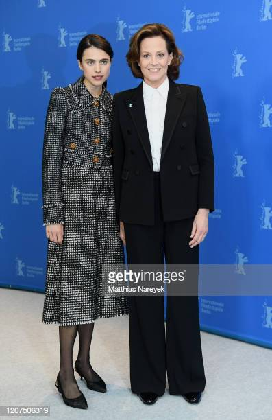 "Sigourney Weaver and Margaret Qualley pose at the ""My Salinger Year"" photo call during the 70th Berlinale International Film Festival Berlin at Grand..."