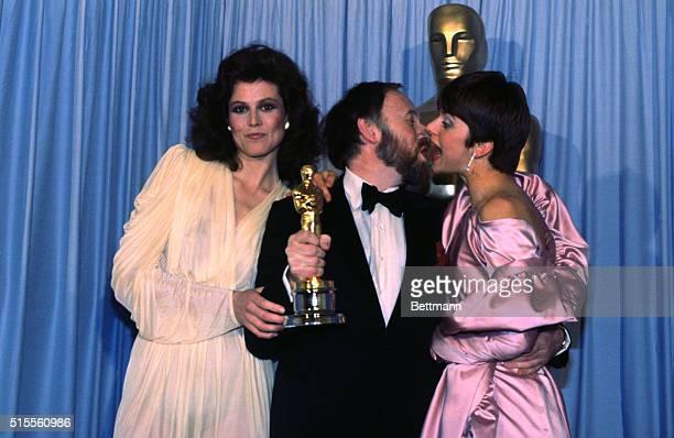 Sigourney Weaver and Natassia Kinski present Academy Award to Anthony Powell for Best Costume Design for film Tess, starring Natassia Kinski.