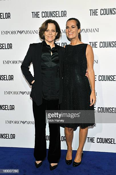 Sigourney Weaver and Roberta Armani arrive at 'The Counselor' Reception at Freemasons' Hall United Grand Lodge of England in London on October 3 2013...