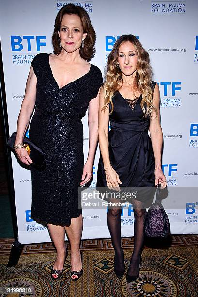 Sigourney Weaver and Sarah Jessica Parker attend the Brain Trauma Foundation 2011 gala at The Pierre Hotel on December 5 2011 in New York City
