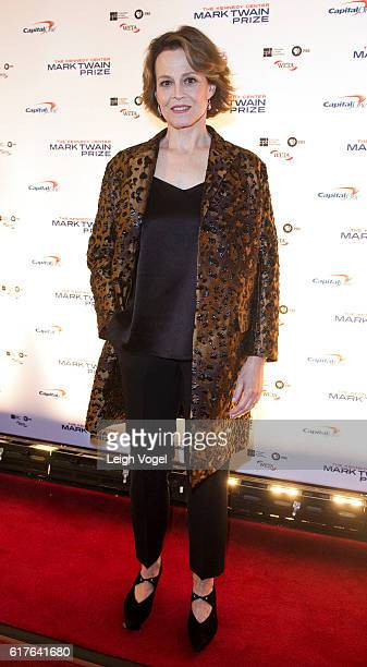 Sigourney Weaver arrives at the Kennedy Center where Bill Murray will receive the 19th Annual Mark Twain Prize on October 23 2016 in Washington DC