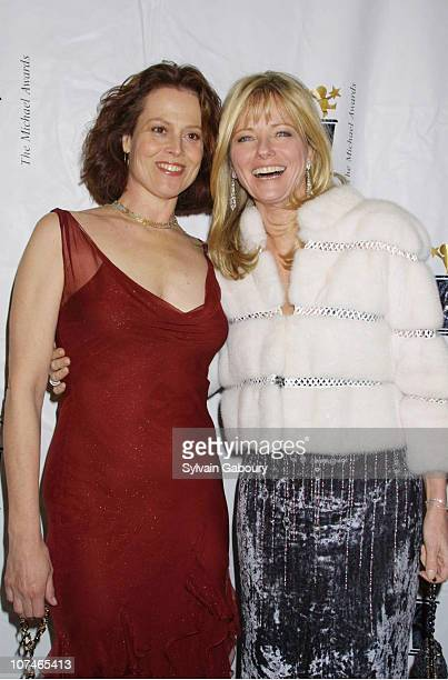 Sigourney Weaver Cheryl Tiegs during Fashion Industry's Annual Michael Awards at Hammerstein in New York New York United States