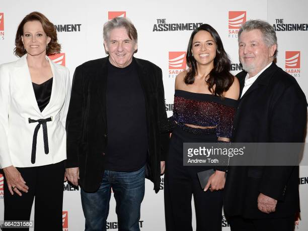 Sigourney Weaver Denis Hamill Michelle Rodriguez and Director Walter Hill attend 'The Assignment' screening at the Whitby Hotel on April 3 2017 in...