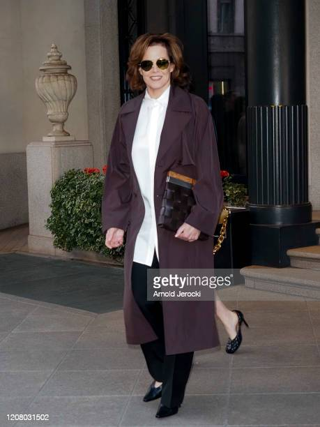 Sigourney Weaver is seen during Milan Fashion Week Fall/Winter 2020-2021 on February 22, 2020 in Milan, Italy.