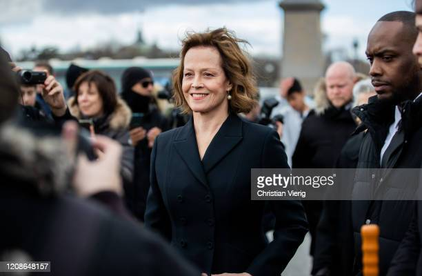 Sigourney Weaver is seen during Paris Fashion Week Womenswear Fall/Winter 2020/2021 Day Two on February 25 2020 in Paris France