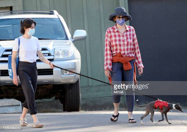 Sigourney Weaver is seen walking her dog with Charlotte Simpson on January 14, 2021 in Los Angeles, California.