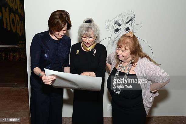 Sigourney Weaver Louise Kerz Hirschfeld and Nina Hirschfeld West attend The Hirschfeld Century The Art of Al Hirschfeld Reception at NewYork...