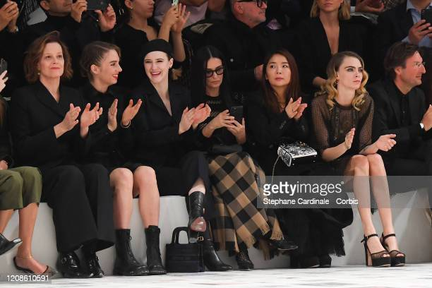 Sigourney Weaver Maya Hawke Rachel Brosnahan Demi Moore guest and Cara Delevingne attend the Dior show as part of the Paris Fashion Week Womenswear...