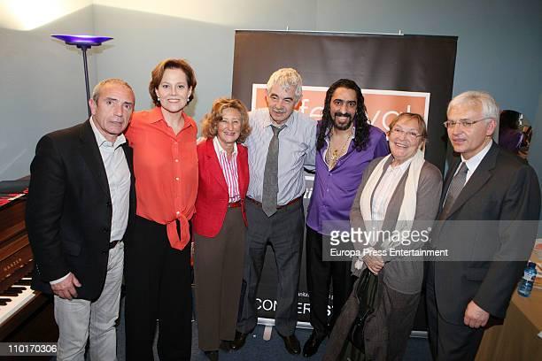 Sigourney Weaver Pascual Maragall and Diana Garrigosa attends the Flamenco show starring by 'El Cigala' singer at El Palau de la Musica on March 2...