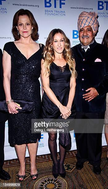 Sigourney Weaver Sarah Jessica Parker His Highness Maharaja Gajsingh II of MarwarJodphur attend the Brain Trauma Foundation 2011 gala at The Pierre...