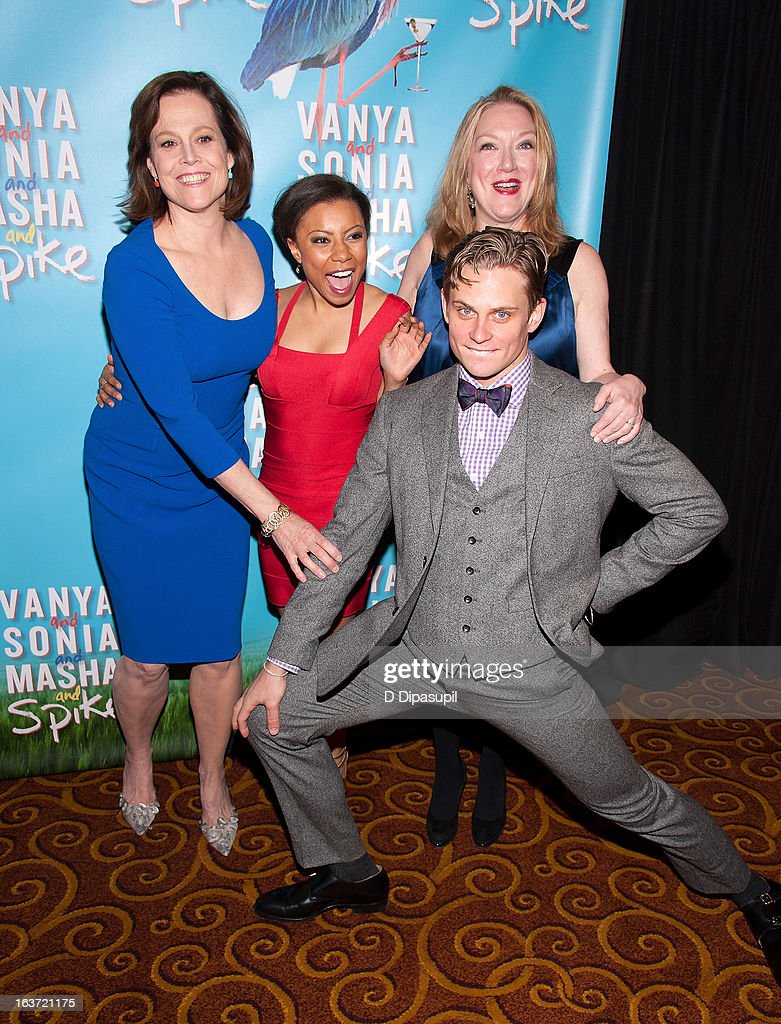 Sigourney Weaver, Shalita Grant, Billy Magnussen, and Kristine Nielsen attend the 'Vanya And Sonia And Masha And Spike' Broadway Opening Night After Party at Gotham Hall on March 14, 2013 in New York City.