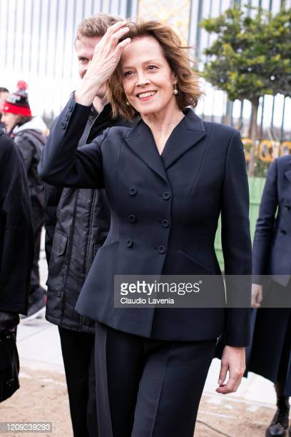 Sigourney Weaver wearing a black suit is seen outside Dior during Paris Fashion Week Womenswear Fall/Winter 2020/2021 Day Two on February 25 2020 in...