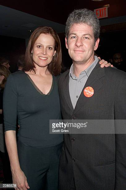 Sigourney Weaver with her husband director Jim Simpson during the FleaForAll after party at the New Victory Theater in New York City The event was a...