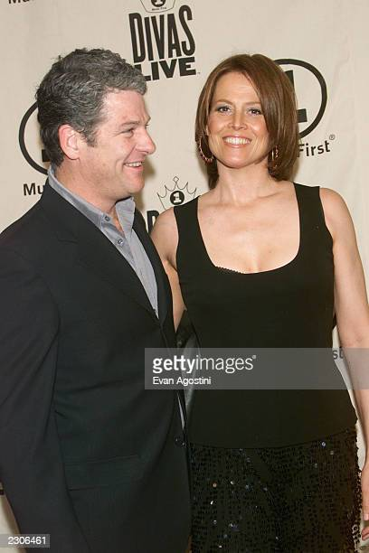 Sigourney Weaver with husband Jim Simpson arrive at the 'VH1 Divas Live The Only and Only Aretha Franklin' concert at Radio City Music Hall in New...