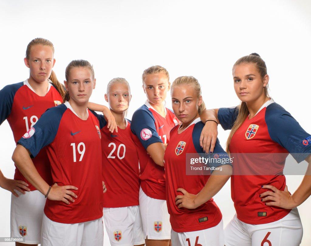 Sigrid Bloch Hansen, Elisabeth Terland, Runa Lillegaard, Jenny, Vilde Gullhaug Birkeli, Andrea Norheim of Norway during J19 Photocall at Thon Arena on July 12, 2018 in Lillestrom, Norway.