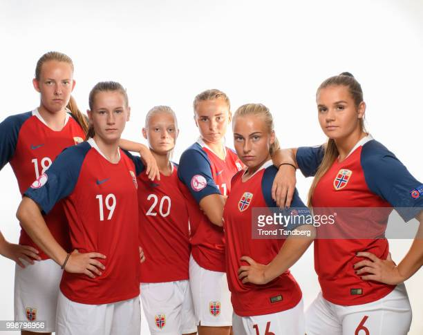 Sigrid Bloch Hansen Elisabeth Terland Runa Lillegaard Jenny Vilde Gullhaug Birkeli Andrea Norheim of Norway during J19 Photocall at Thon Arena on...