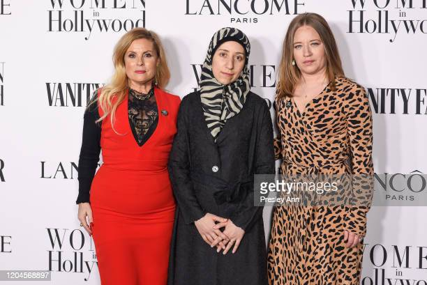 Sigrid Dyekjær and Dr. Amani Ballour and Kirstine Barfod attend the Vanity Fair and Lancôme women in hollywood celebration at Soho House on February...