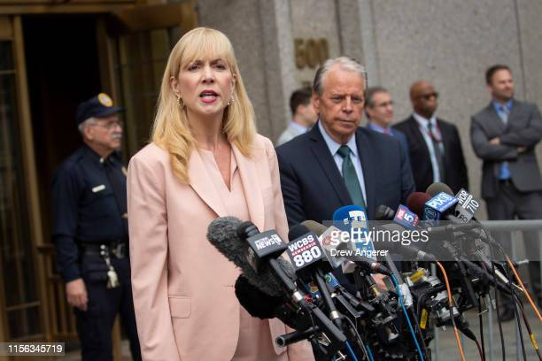 Sigrid McCawley and Stan Pottinger attorneys for alleged victims of Jeffrey Epstein speak to reporters outside of federal court after a judge denied...