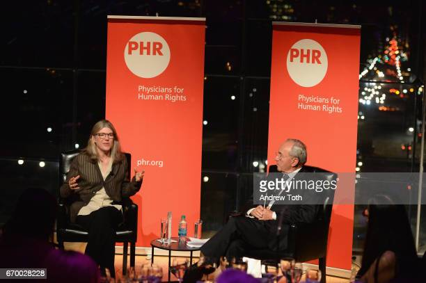 Sigrid Rausing and Justice Richard J Goldstone speak onstage at the PHR 2017 Gala at Jazz at Lincoln Center on April 18 2017 in New York City