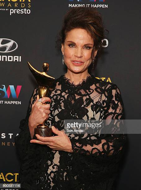 Sigrid Thornton poses with an AACTA Award for winning best guest or supporting actress in a television drama during the 5th AACTA Awards at The Star...