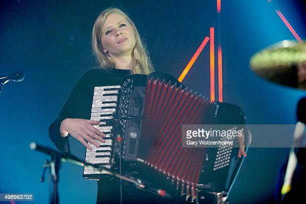 Sigrun Kristbjorg Jonsdottir from Of Monsters And Men performs at O2 Academy Sheffield on November 27 2015 in Sheffield England