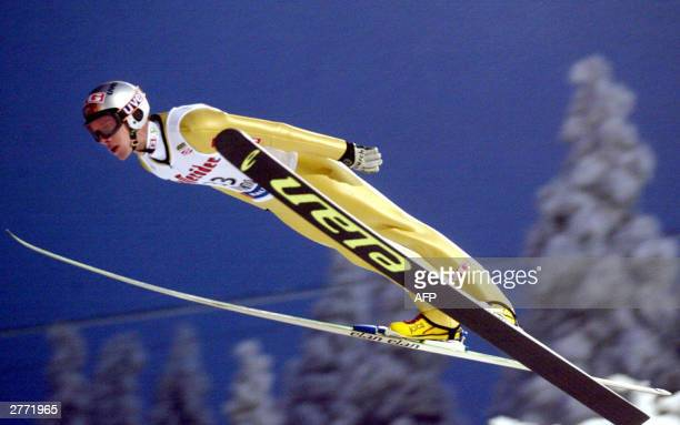 Sigurd Pettersen from Norway flies through the air during his jump in the K120 World Cup ski jumping in Ruka Finland 30 November 2003 Sigurd...
