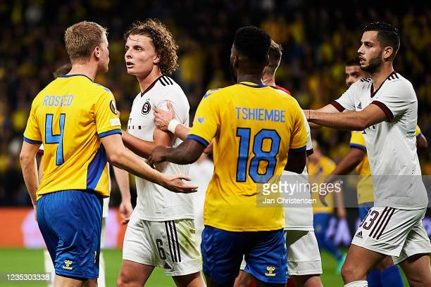 Sigurd Rosted of Brondby IF and Filip Soucek of AC Sparta Praha in discussion during the UEFA Europa League match between Brondby IF and AC Sparta...