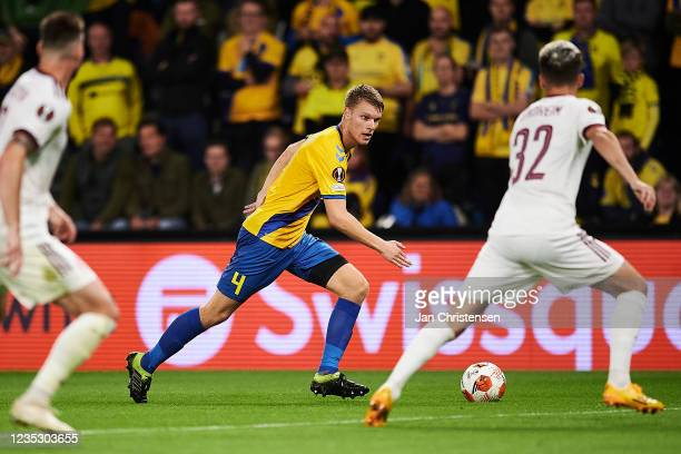 Sigurd Rosted of Brondby IF in action during the UEFA Europa League match between Brondby IF and AC Sparta Praha at Brondby Stadion on September 16,...