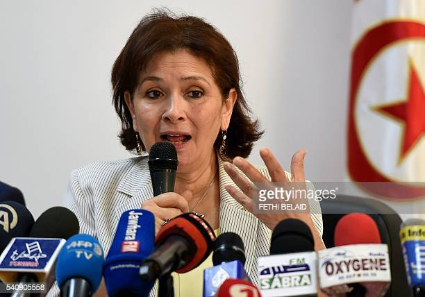 Sihem Ben Sedrine president of the Forum of Truth and Dignity speaks to journalists during a press conference on June 17 2016 in Tunis as the...