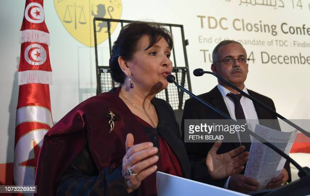 Sihem Ben Sedrine President of Tunisia's Truth and Dignity Commission gives the closing speech during the TDC closing conference in the capital Tunis...
