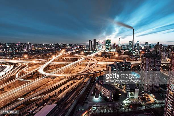 Sihui Bridge, Beijing, Aerial View of Busy Road Intersection