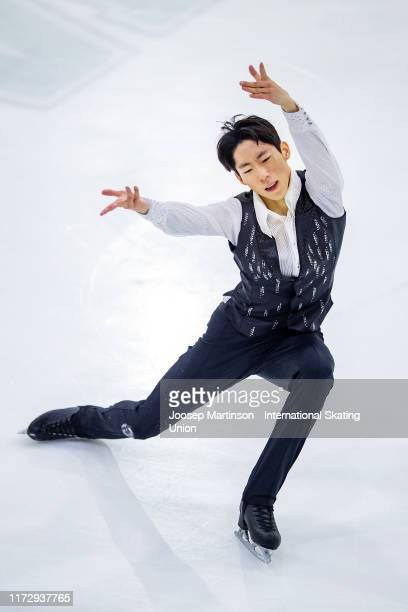 Sihyeong Lee of Korea competes in the Junior Men's Free Skating during day 3 of the ISU Junior Grand Prix of Figure Skating Riga Cup at Volvo Sporta...