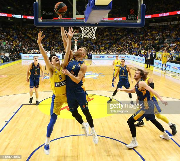 SiimSander Vene #9 of Herbalife Gran Canaria competes with Deni Avdija #8 of Maccabi Fox Tel Aviv during the 2018/2019 Turkish Airlines EuroLeague...