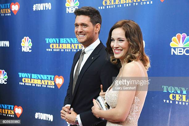 Siinger Michael Buble and singer/actress Luisana Lopilato attend 'Tony Bennett Celebrates 90 The Best Is Yet To Come' at Radio City Music Hall on...