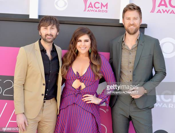 Siingers Dave Haywood Hillary Scott and Charles Kelley of Lady Antebellum attend the 52nd Academy Of Country Music Awards at Toshiba Plaza on April 2...