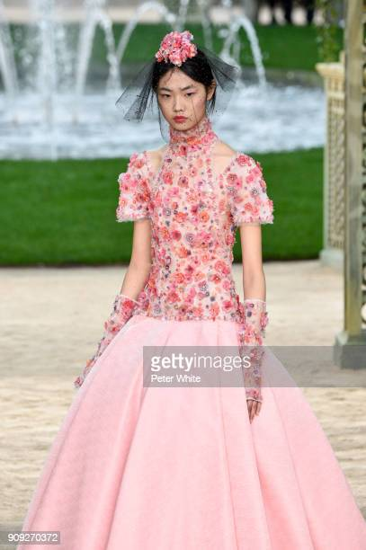 Sijia Kang walks the runway during the Chanel Spring Summer 2018 show as part of Paris Fashion Week on January 23 2018 in Paris France