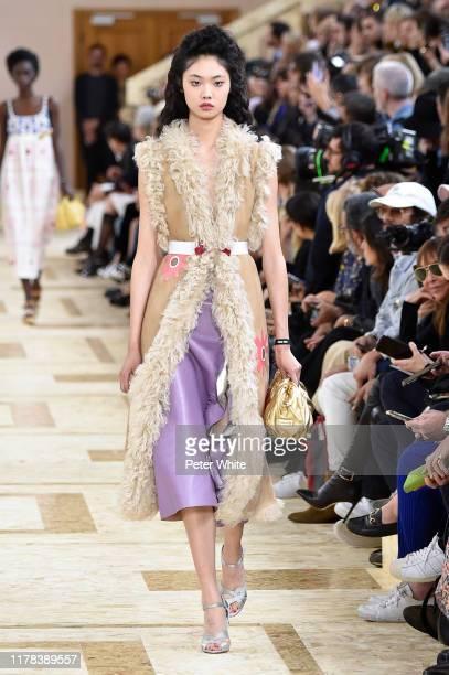 Sijia Kang walks the runway during the Miu Miu Womenswear Spring/Summer 2020 show as part of Paris Fashion Week on October 01, 2019 in Paris, France.