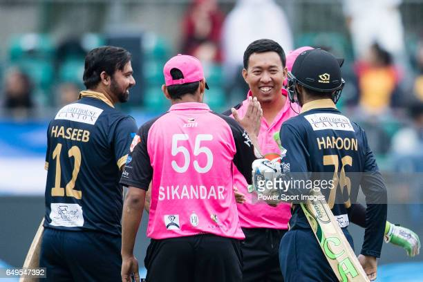 Sik Andar of Hung Hom JD Jaguars celebrates with his team during the Hong Kong T20 Blitz match between Hung Hom JD Jaguars and Galaxy Gladiators...
