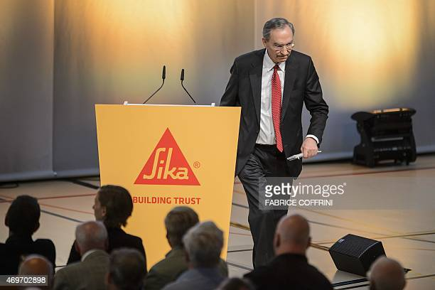 Sika board candidate proposed by the controlling shareholders Max Roesle leaves the podium after addressing a general assembly in Baar central...
