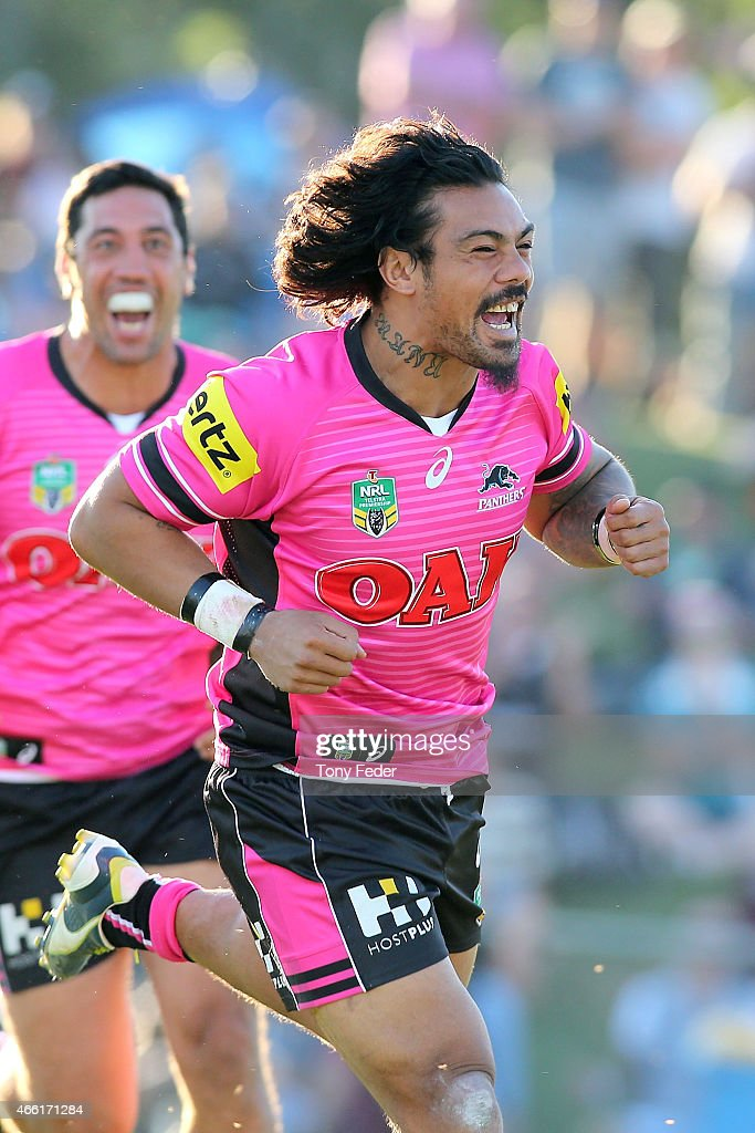 Sika Manu of the Panthers celebrates a try during the round two NRL match between the Penrith Panthers and the Gold Coast Titans at Carrington Park on March 14, 2015 in Bathurst, Australia.