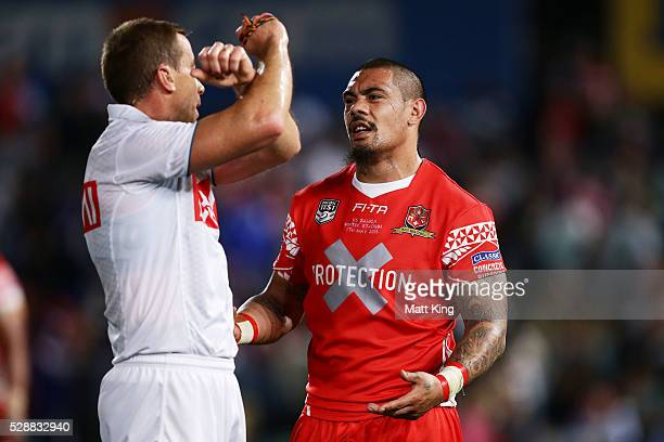 Sika Manu of Tonga is put on report by referee Ben Cummins during the International Rugby League Test match between Tonga and Samoa at Pirtek Stadium...
