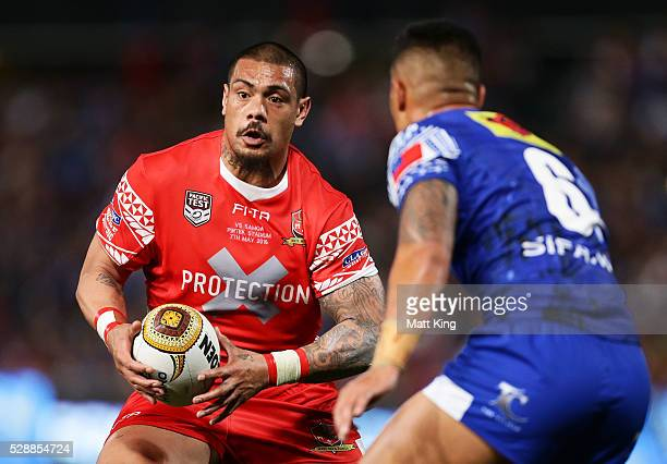 Sika Manu of Tonga takes on the defence during the International Rugby League Test match between Tonga and Samoa at Pirtek Stadium on May 7 2016 in...