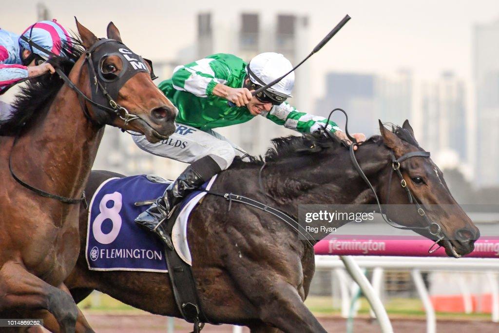 Sikandarabad (IRE) ridden by Jordan Childs wins the VRC Members Handicap at Flemington Racecourse on August 11, 2018 in Flemington, Australia.