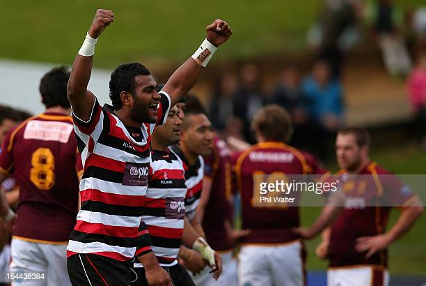 Sikeli Nabou of Counties celebrates on full time during the ITM Cup Championship Semifinal match between Counties Manukau and Southland at ECOLight...