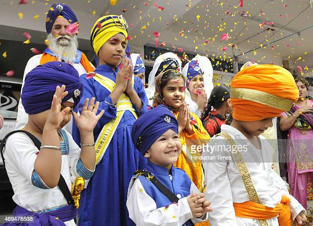 Sikh children taking part in a competition organised as a part of Baisakhi celebrations at Gurdwara Nanaksar on April 12 2015 in Bhopal India...