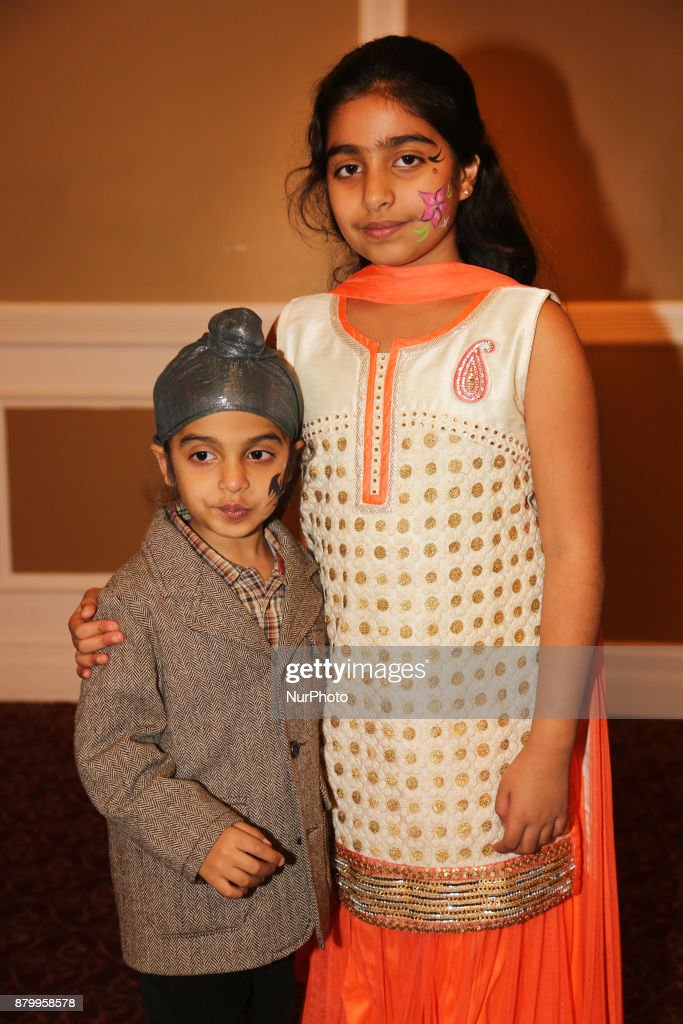 Sikh children with their faces painted during the Diwali Gala Celebration held in Mississauga Ontario Canada on 25 November 2017 This luxurious gala..