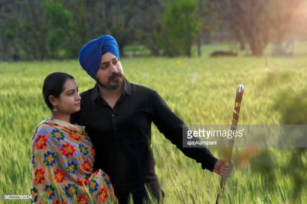 sikh couple in a wheat field - punjab india stock pictures, royalty-free photos & images