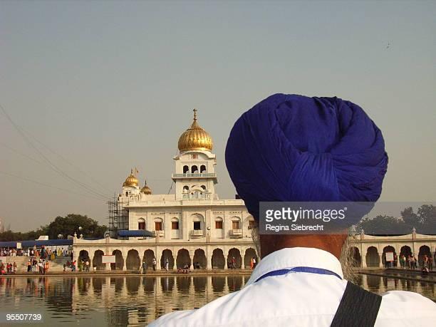 Sikh Devotee Gurdwara Bangla Sahib,  blue turba